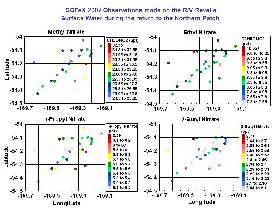 SOFeX 2002 Observations made on the R/V Revelle Surface Water during the return to the Northern Patch