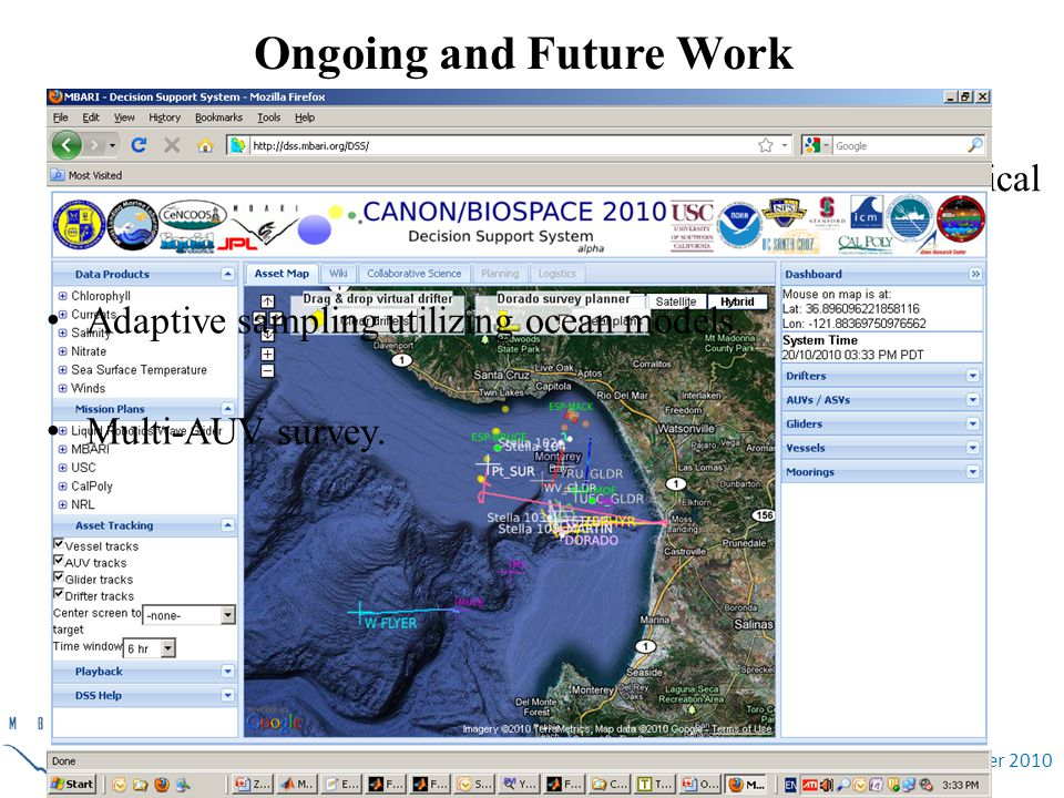 November 2010 Ongoing and Future Work Detection and tracking of ocean fronts, plumes, and biological patches.