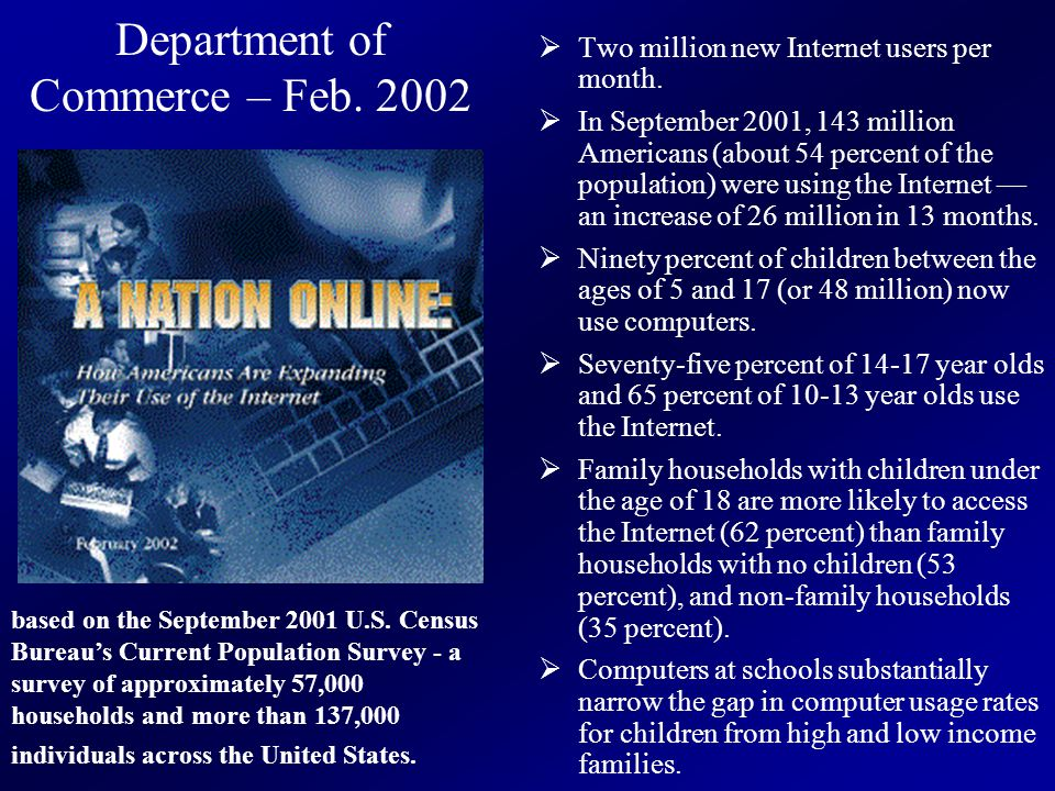 Department of Commerce – Feb. 2002  Two million new Internet users per month.  In September 2001, 143 million Americans (about 54 percent of the pop
