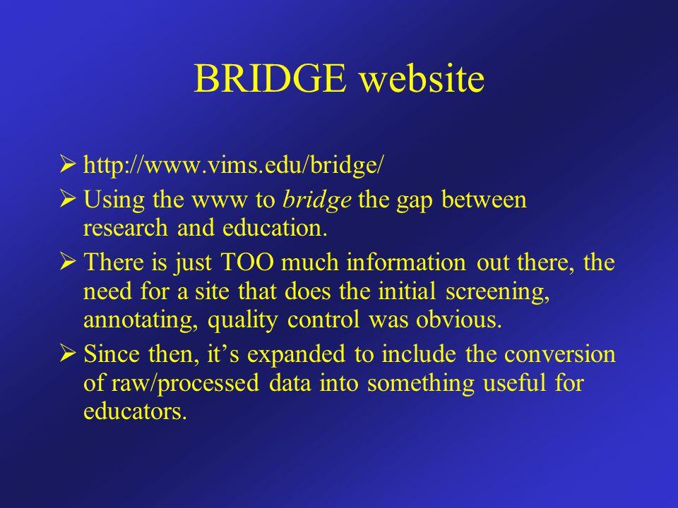 BRIDGE website  http://www.vims.edu/bridge/  Using the www to bridge the gap between research and education.