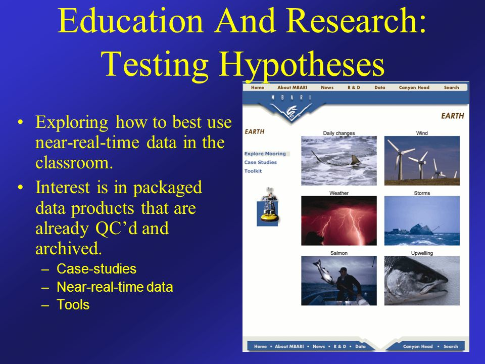 Education And Research: Testing Hypotheses Exploring how to best use near-real-time data in the classroom. Interest is in packaged data products that