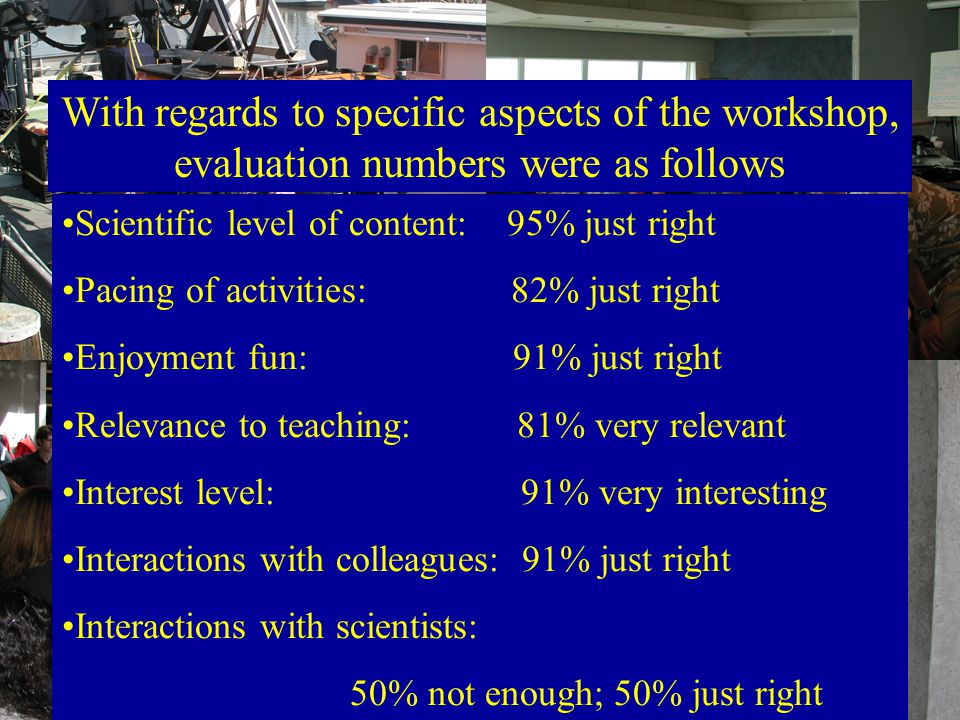 Scientific level of content: 95% just right Pacing of activities: 82% just right Enjoyment fun: 91% just right Relevance to teaching: 81% very relevant Interest level: 91% very interesting Interactions with colleagues: 91% just right Interactions with scientists: 50% not enough; 50% just right With regards to specific aspects of the workshop, evaluation numbers were as follows