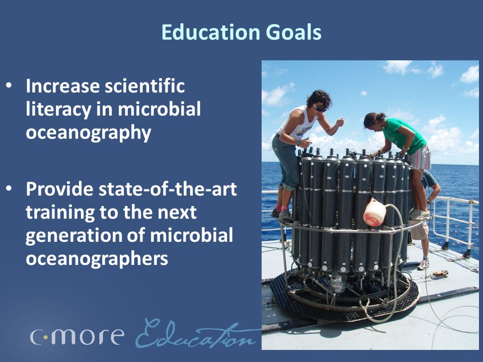 Education Goals Increase scientific literacy in microbial oceanography Provide state-of-the-art training to the next generation of microbial oceanographers