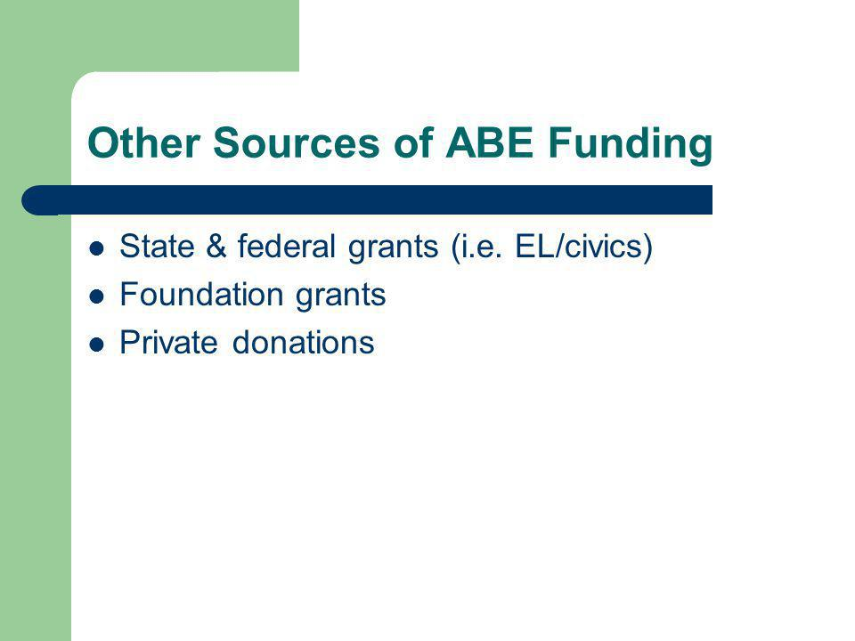 Other Sources of ABE Funding State & federal grants (i.e. EL/civics) Foundation grants Private donations