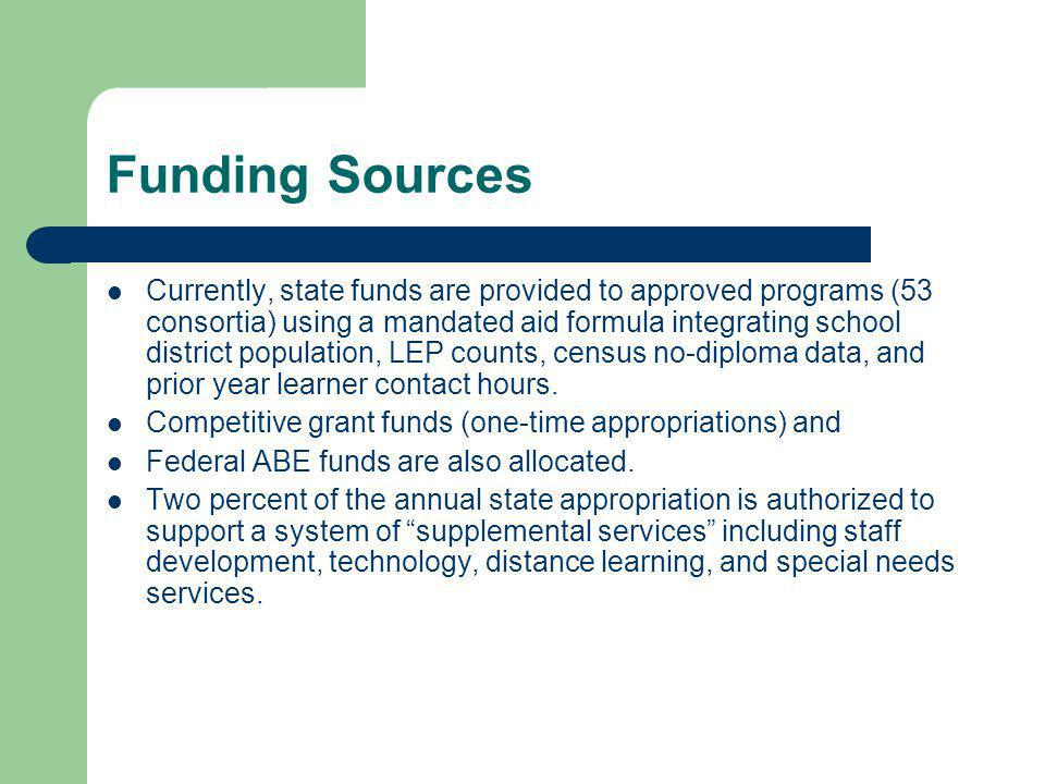 Funding Sources Currently, state funds are provided to approved programs (53 consortia) using a mandated aid formula integrating school district popul
