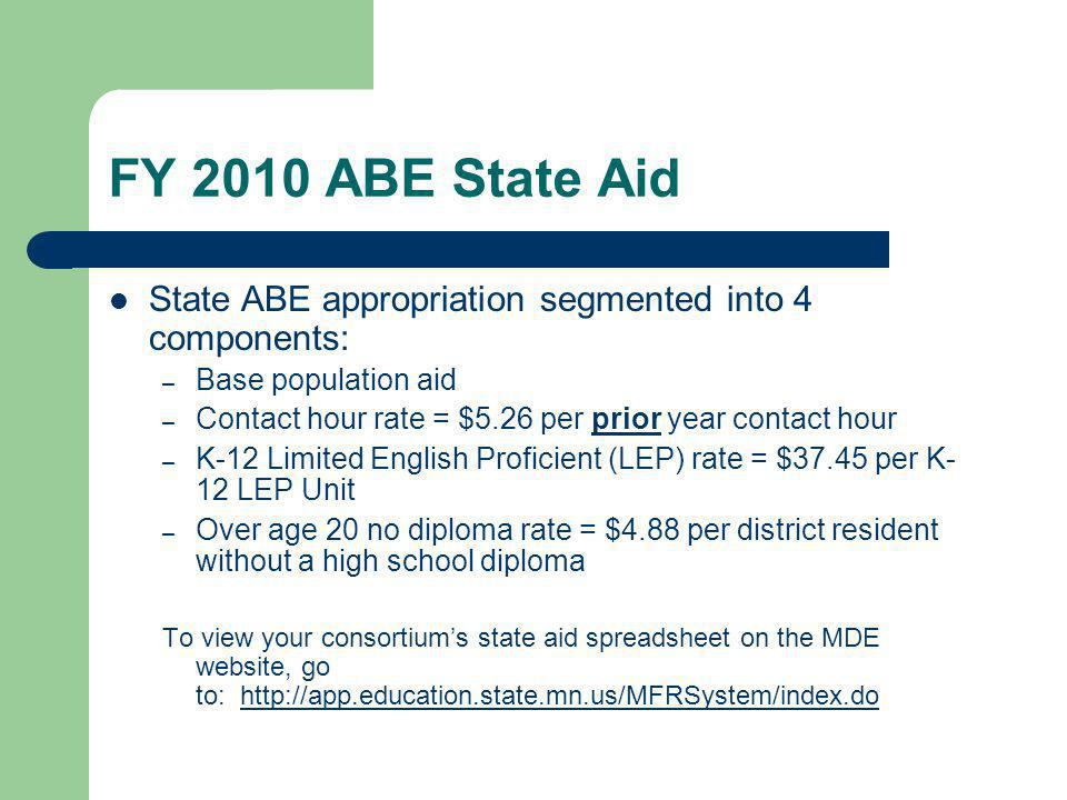 FY 2010 ABE State Aid State ABE appropriation segmented into 4 components: – Base population aid – Contact hour rate = $5.26 per prior year contact ho