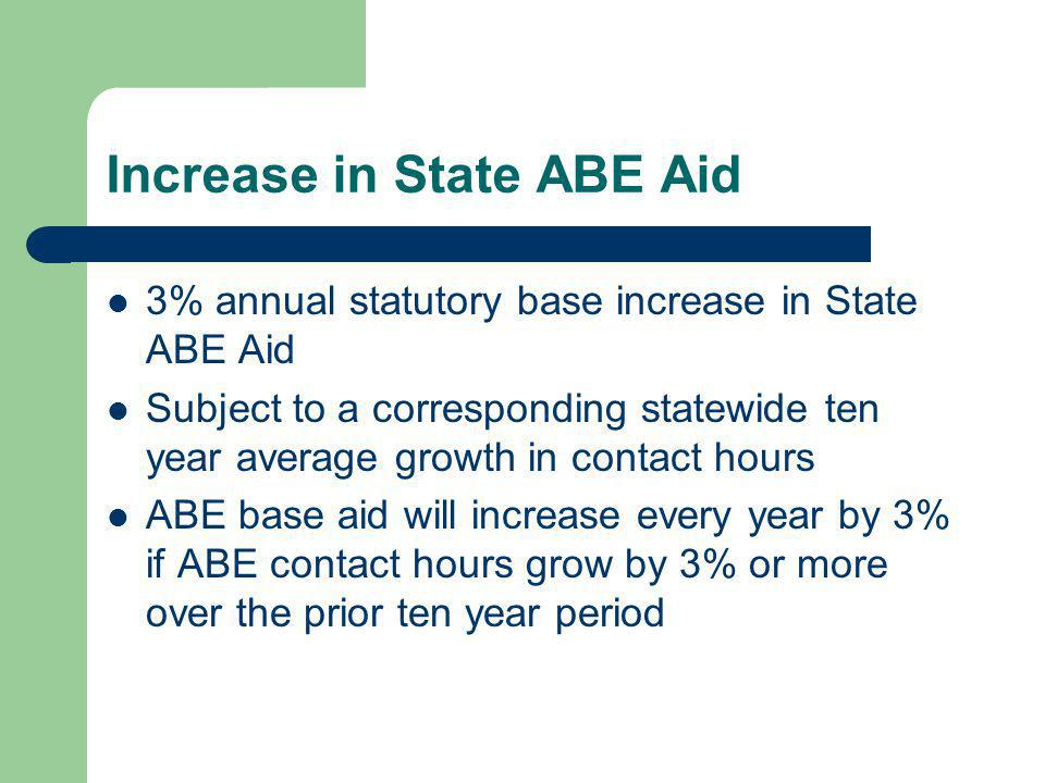 Increase in State ABE Aid 3% annual statutory base increase in State ABE Aid Subject to a corresponding statewide ten year average growth in contact h