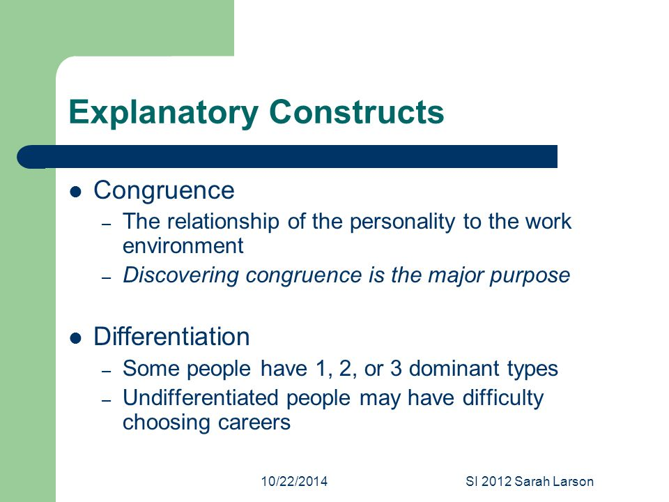 10/22/2014SI 2012 Sarah Larson Explanatory Constructs Congruence – The relationship of the personality to the work environment – Discovering congruence is the major purpose Differentiation – Some people have 1, 2, or 3 dominant types – Undifferentiated people may have difficulty choosing careers