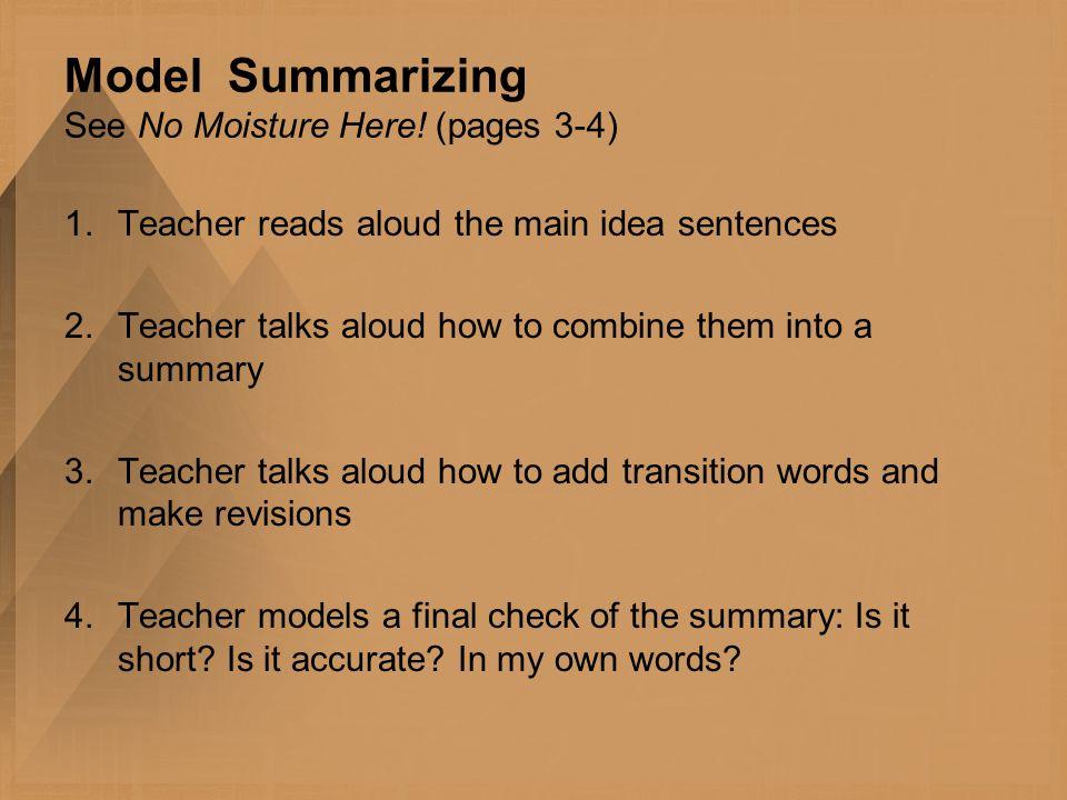 Model Summarizing See No Moisture Here.