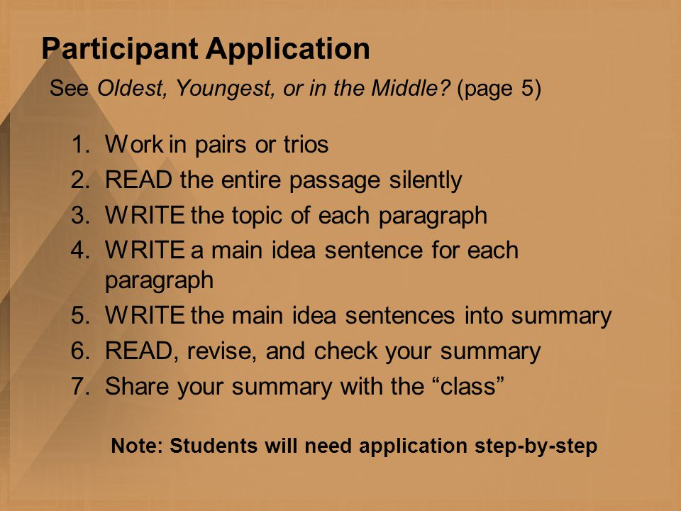 Participant Application See Oldest, Youngest, or in the Middle.