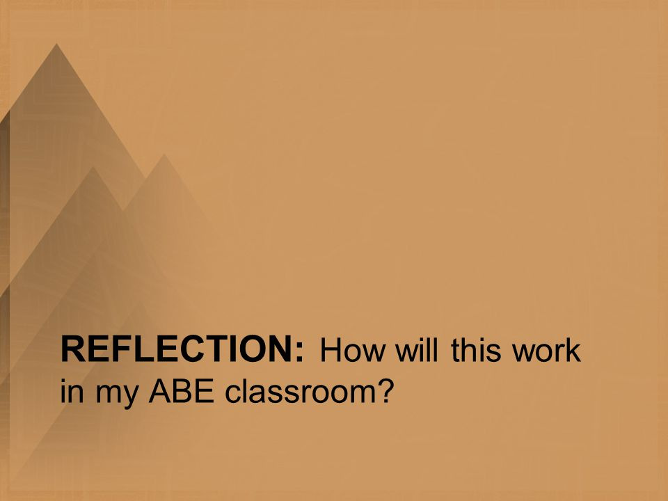 REFLECTION: How will this work in my ABE classroom