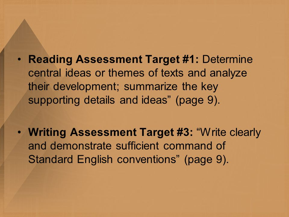 Reading Assessment Target #1: Determine central ideas or themes of texts and analyze their development; summarize the key supporting details and ideas (page 9).
