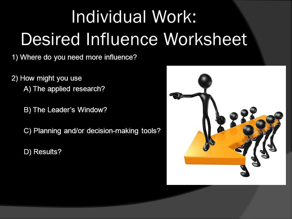 Individual Work: Desired Influence Worksheet 1) Where do you need more influence.