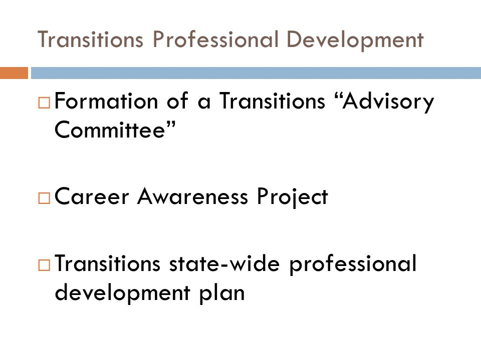 "Transitions Professional Development  Formation of a Transitions ""Advisory Committee""  Career Awareness Project  Transitions state-wide professiona"