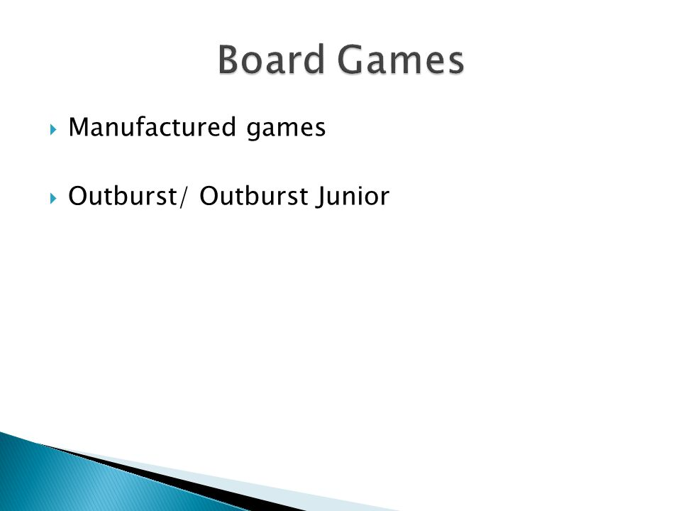 Manufactured games  Outburst/ Outburst Junior