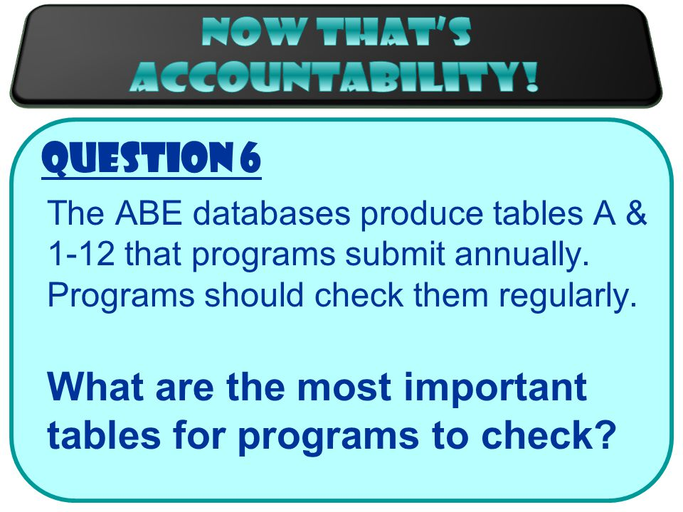 Question 6 The ABE databases produce tables A & 1-12 that programs submit annually.