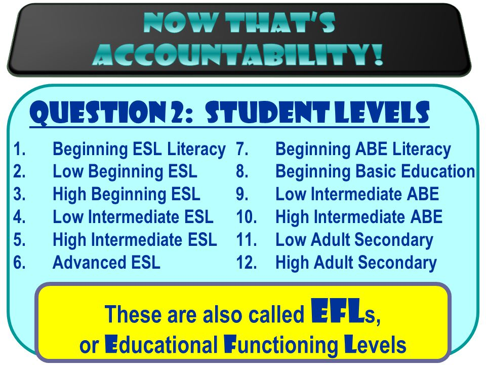 Question 2: Student Levels 1.Beginning ESL Literacy 2.Low Beginning ESL 3.High Beginning ESL 4.Low Intermediate ESL 5.High Intermediate ESL 6.Advanced ESL 7.Beginning ABE Literacy 8.Beginning Basic Education 9.Low Intermediate ABE 10.High Intermediate ABE 11.Low Adult Secondary 12.High Adult Secondary These are also called EFL s, or E ducational F unctioning L evels