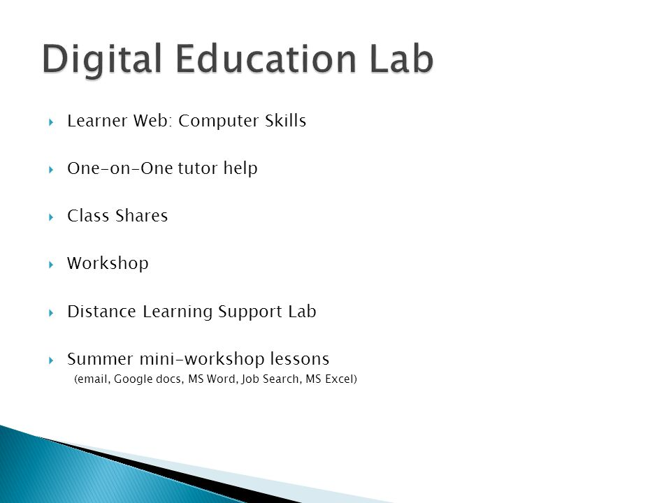  Learner Web: Computer Skills  One-on-One tutor help  Class Shares  Workshop  Distance Learning Support Lab  Summer mini-workshop lessons (email