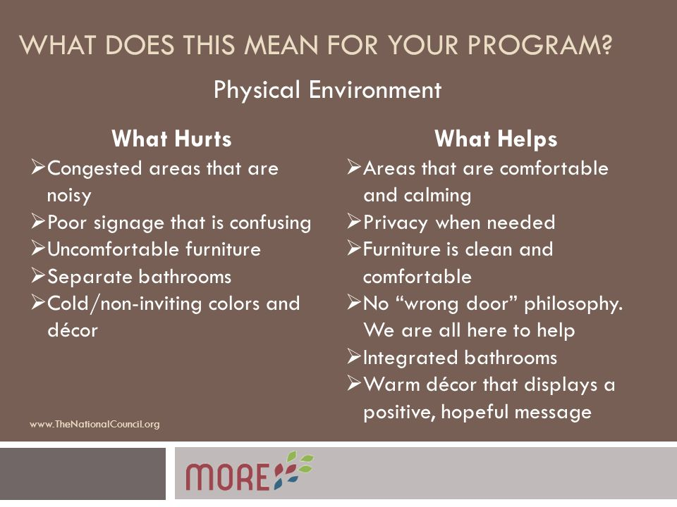 WHAT DOES THIS MEAN FOR YOUR PROGRAM? Physical Environment What Hurts  Congested areas that are noisy  Poor signage that is confusing  Uncomfortabl