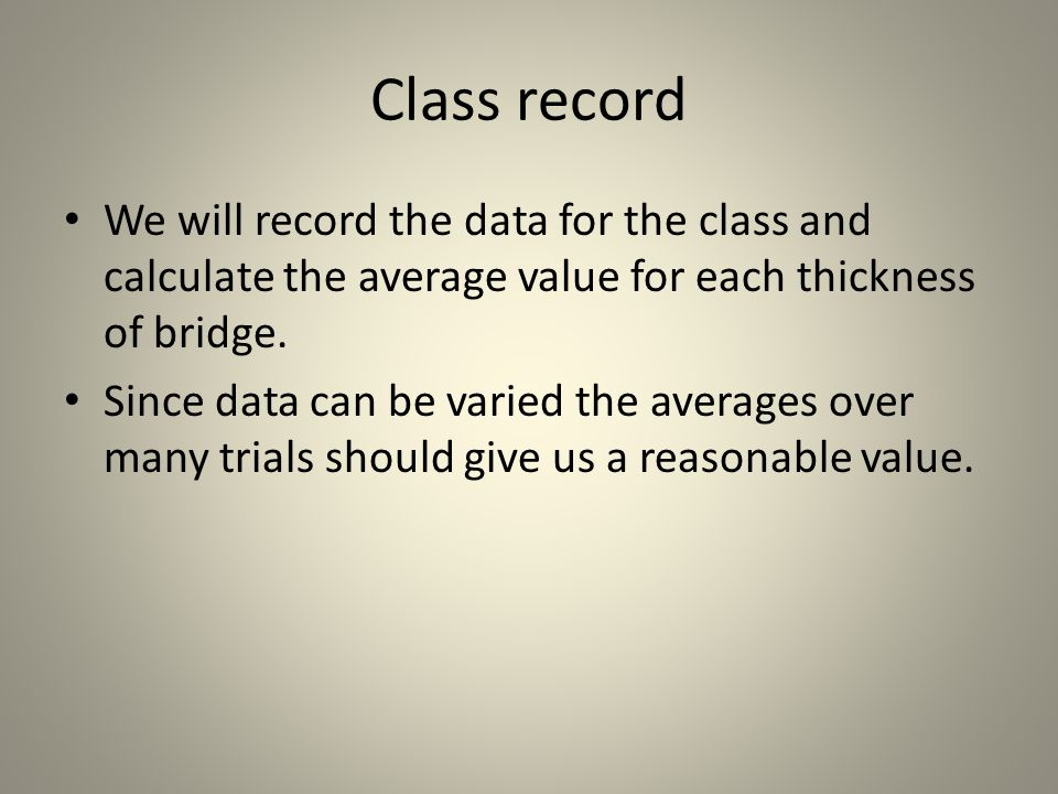 Class record We will record the data for the class and calculate the average value for each thickness of bridge.