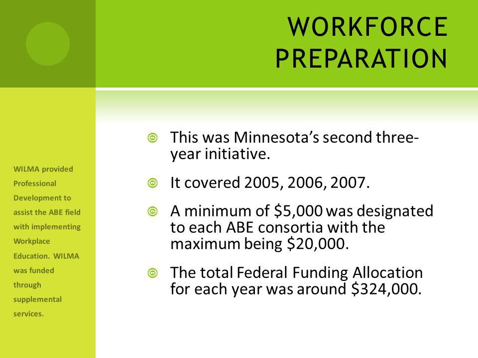 WORKFORCE PREPARATION  This was Minnesota's second three- year initiative.