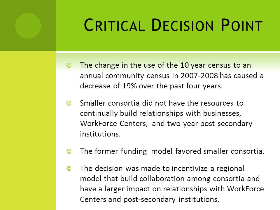 C RITICAL D ECISION P OINT  The change in the use of the 10 year census to an annual community census in 2007-2008 has caused a decrease of 19% over