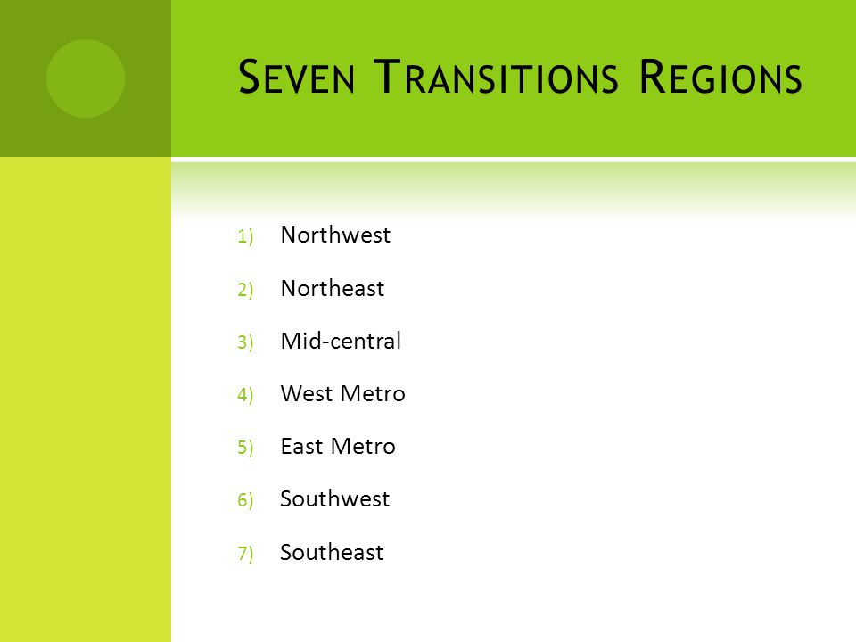 S EVEN T RANSITIONS R EGIONS 1) Northwest 2) Northeast 3) Mid-central 4) West Metro 5) East Metro 6) Southwest 7) Southeast