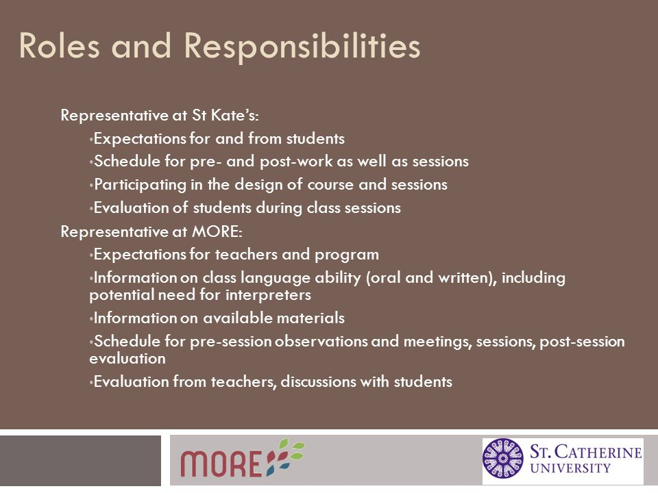Roles and Responsibilities Representative at St Kate's: Expectations for and from students Schedule for pre- and post-work as well as sessions Participating in the design of course and sessions Evaluation of students during class sessions Representative at MORE: Expectations for teachers and program Information on class language ability (oral and written), including potential need for interpreters Information on available materials Schedule for pre-session observations and meetings, sessions, post-session evaluation Evaluation from teachers, discussions with students