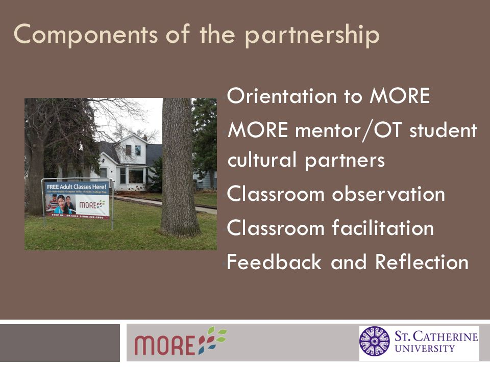 Components of the partnership Orientation to MORE MORE mentor/OT student cultural partners Classroom observation Classroom facilitation Feedback and Reflection