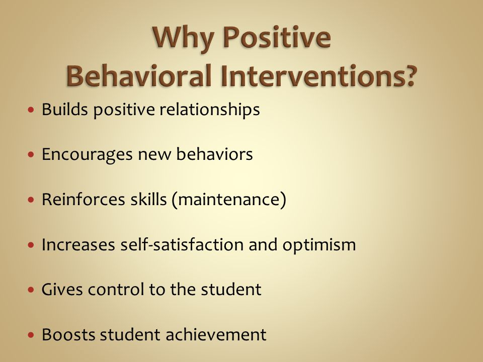 Builds positive relationships Encourages new behaviors Reinforces skills (maintenance) Increases self-satisfaction and optimism Gives control to the student Boosts student achievement