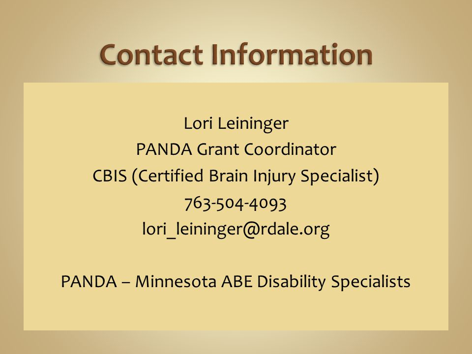 Lori Leininger PANDA Grant Coordinator CBIS (Certified Brain Injury Specialist) 763-504-4093 lori_leininger@rdale.org PANDA – Minnesota ABE Disability Specialists