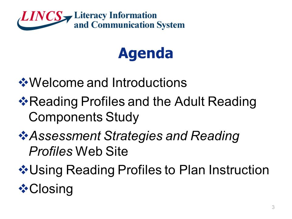 Agenda  Welcome and Introductions  Reading Profiles and the Adult Reading Components Study  Assessment Strategies and Reading Profiles Web Site  Using Reading Profiles to Plan Instruction  Closing 3