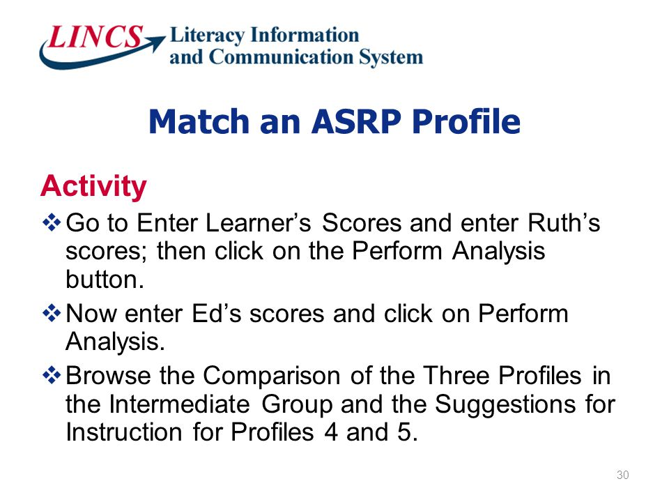 Match an ASRP Profile Activity  Go to Enter Learner's Scores and enter Ruth's scores; then click on the Perform Analysis button.