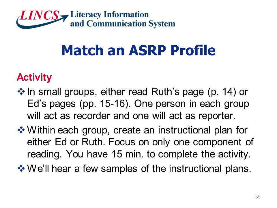 Match an ASRP Profile Activity  In small groups, either read Ruth's page (p.