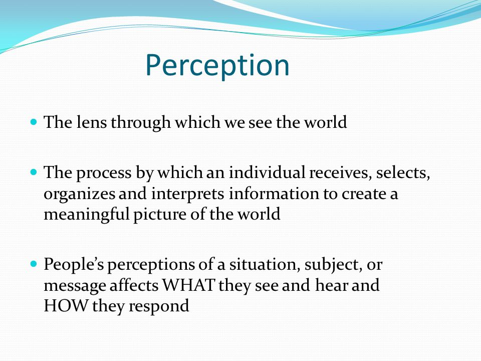 Perception The lens through which we see the world The process by which an individual receives, selects, organizes and interprets information to creat