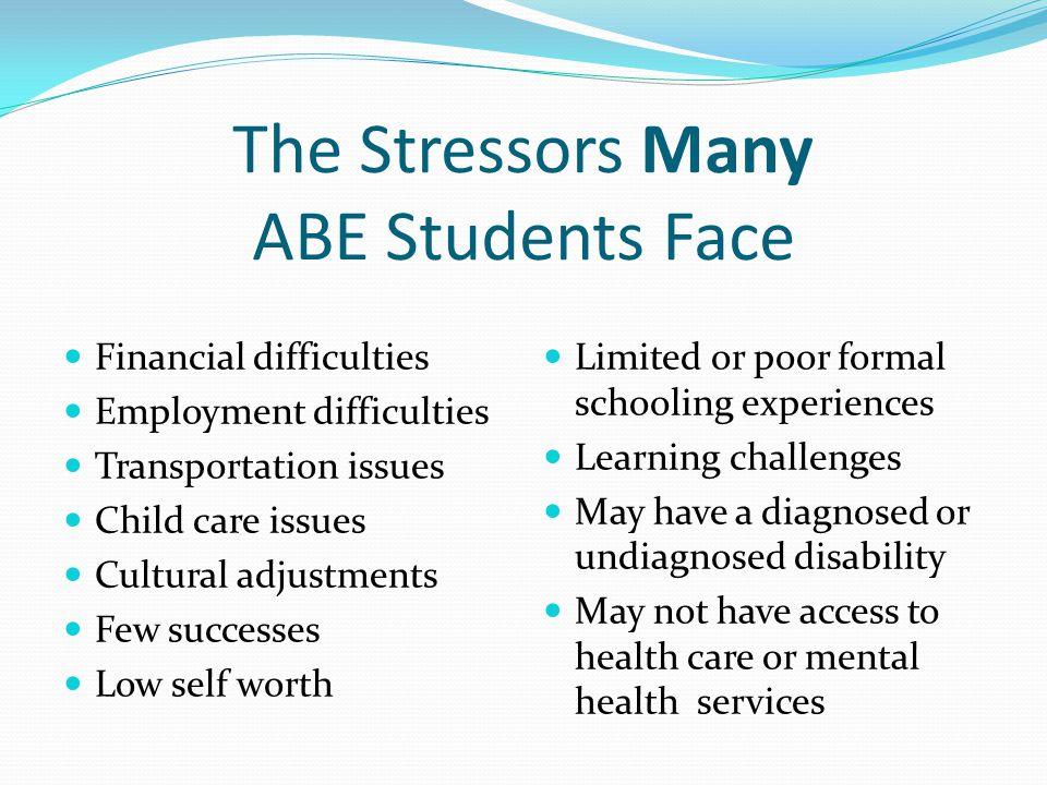 The Stressors Many ABE Students Face Financial difficulties Employment difficulties Transportation issues Child care issues Cultural adjustments Few s