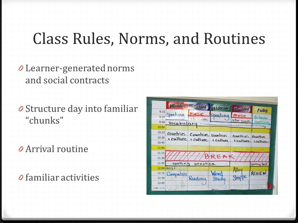 Class Rules, Norms, and Routines 0 Learner-generated norms and social contracts 0 Structure day into familiar chunks 0 Arrival routine 0 familiar activities