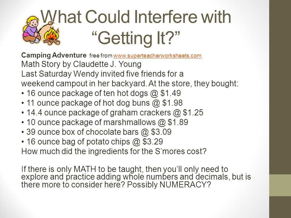 What Could Interfere with Getting It Camping Adventure free from www.superteacherworksheets.comwww.superteacherworksheets.com Math Story by Claudette J.