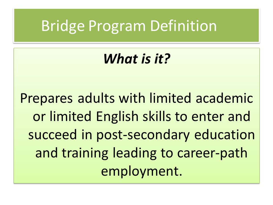 Bridge Program Definition What is it.