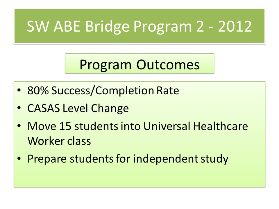 SW ABE Bridge Program 2 - 2012 80% Success/Completion Rate CASAS Level Change Move 15 students into Universal Healthcare Worker class Prepare students for independent study 80% Success/Completion Rate CASAS Level Change Move 15 students into Universal Healthcare Worker class Prepare students for independent study Program Outcomes