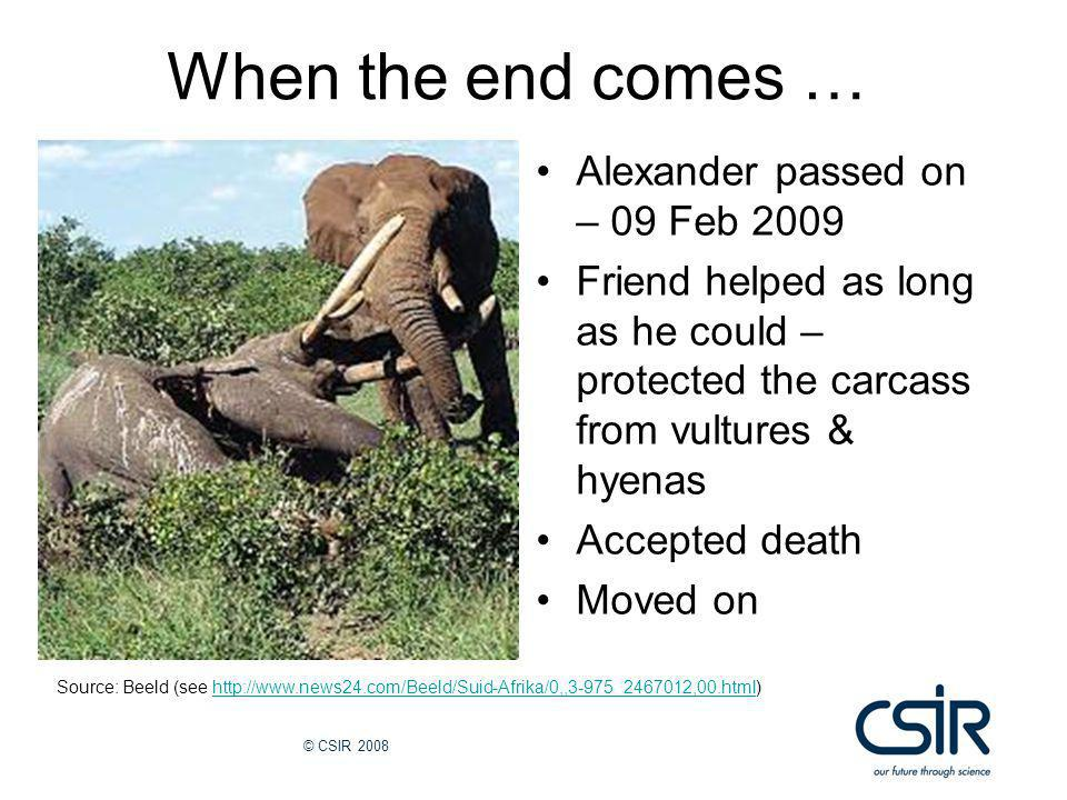 © CSIR 2008 When the end comes … Alexander passed on – 09 Feb 2009 Friend helped as long as he could – protected the carcass from vultures & hyenas Accepted death Moved on Source: Beeld (see http://www.news24.com/Beeld/Suid-Afrika/0,,3-975_2467012,00.html)http://www.news24.com/Beeld/Suid-Afrika/0,,3-975_2467012,00.html