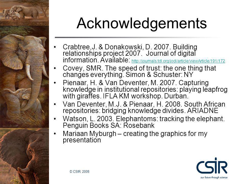 © CSIR 2008 Acknowledgements Crabtree,J.& Donakowski, D.