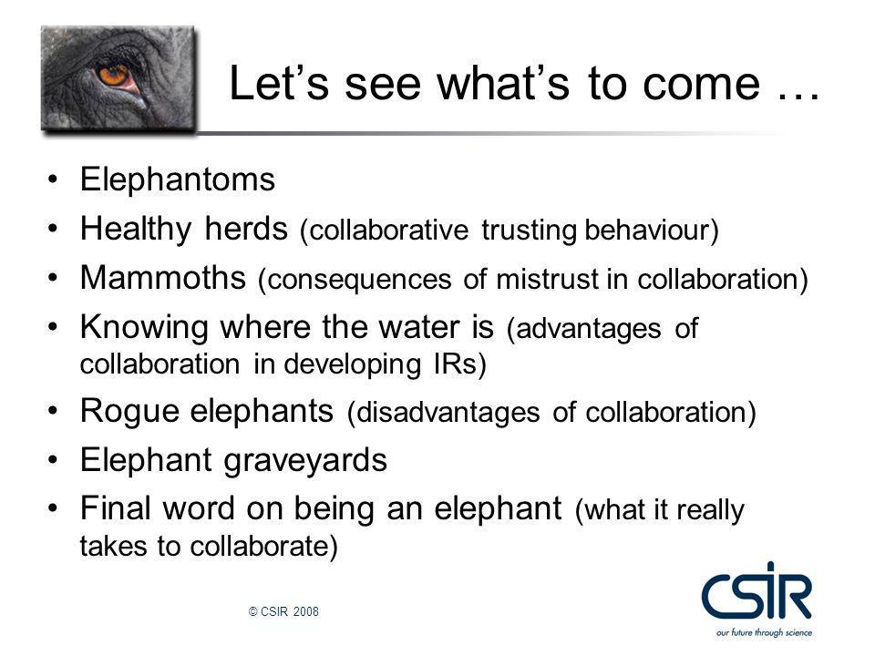 © CSIR 2008 Let's see what's to come … Elephantoms Healthy herds (collaborative trusting behaviour) Mammoths (consequences of mistrust in collaboration) Knowing where the water is (advantages of collaboration in developing IRs) Rogue elephants (disadvantages of collaboration) Elephant graveyards Final word on being an elephant (what it really takes to collaborate)