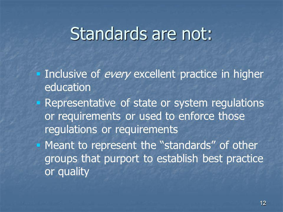 12   Inclusive of every excellent practice in higher education   Representative of state or system regulations or requirements or used to enforce those regulations or requirements   Meant to represent the standards of other groups that purport to establish best practice or quality Standards are not:
