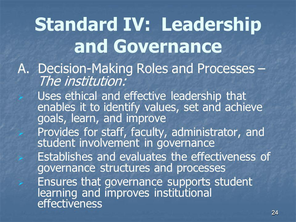 24 Standard IV: Leadership and Governance A.