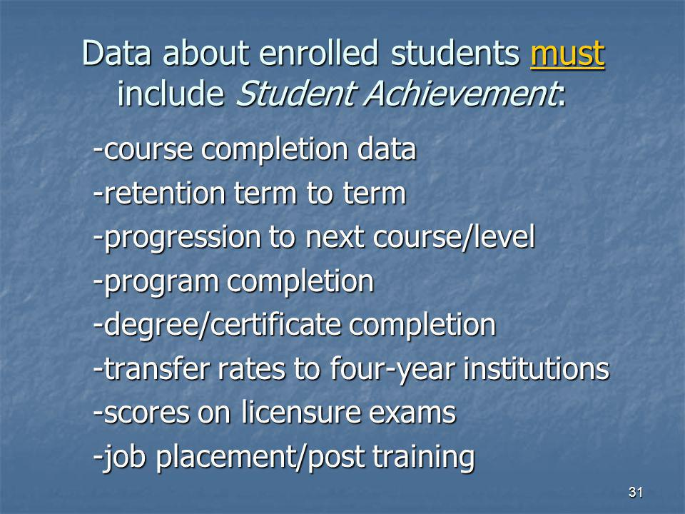 31 Data about enrolled students must include Student Achievement: -course completion data -retention term to term -progression to next course/level -program completion -degree/certificate completion -transfer rates to four-year institutions -scores on licensure exams -job placement/post training