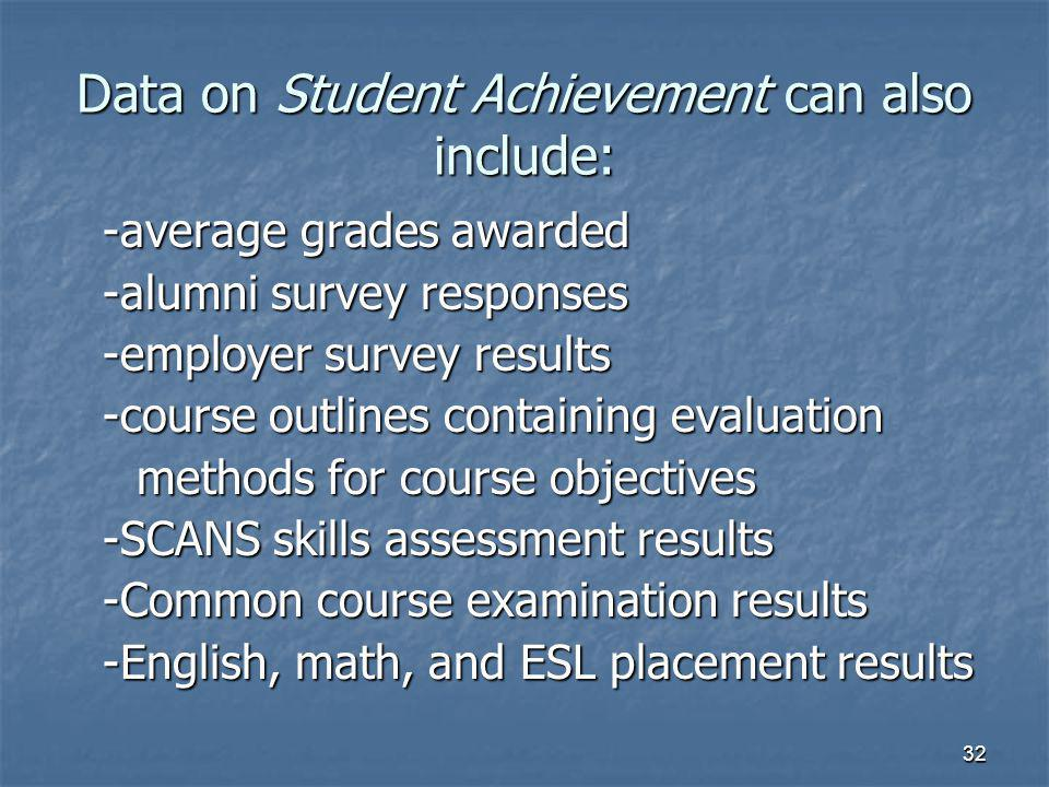 32 Data on Student Achievement can also include: -average grades awarded -alumni survey responses -employer survey results -course outlines containing evaluation methods for course objectives methods for course objectives -SCANS skills assessment results -Common course examination results -English, math, and ESL placement results
