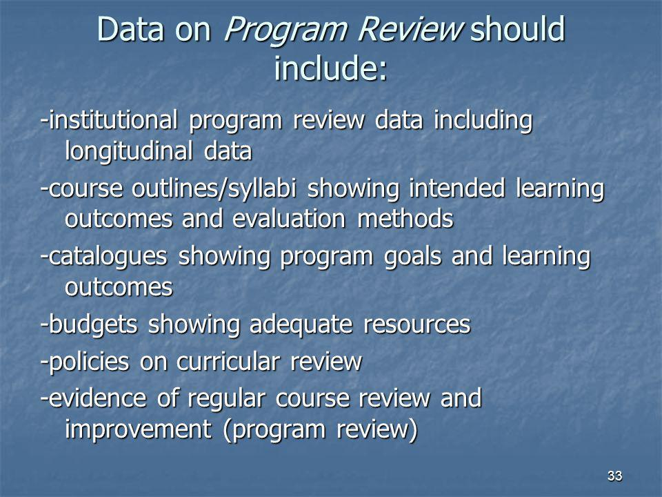 33 Data on Program Review should include: -institutional program review data including longitudinal data -course outlines/syllabi showing intended learning outcomes and evaluation methods -catalogues showing program goals and learning outcomes -budgets showing adequate resources -policies on curricular review -evidence of regular course review and improvement (program review)
