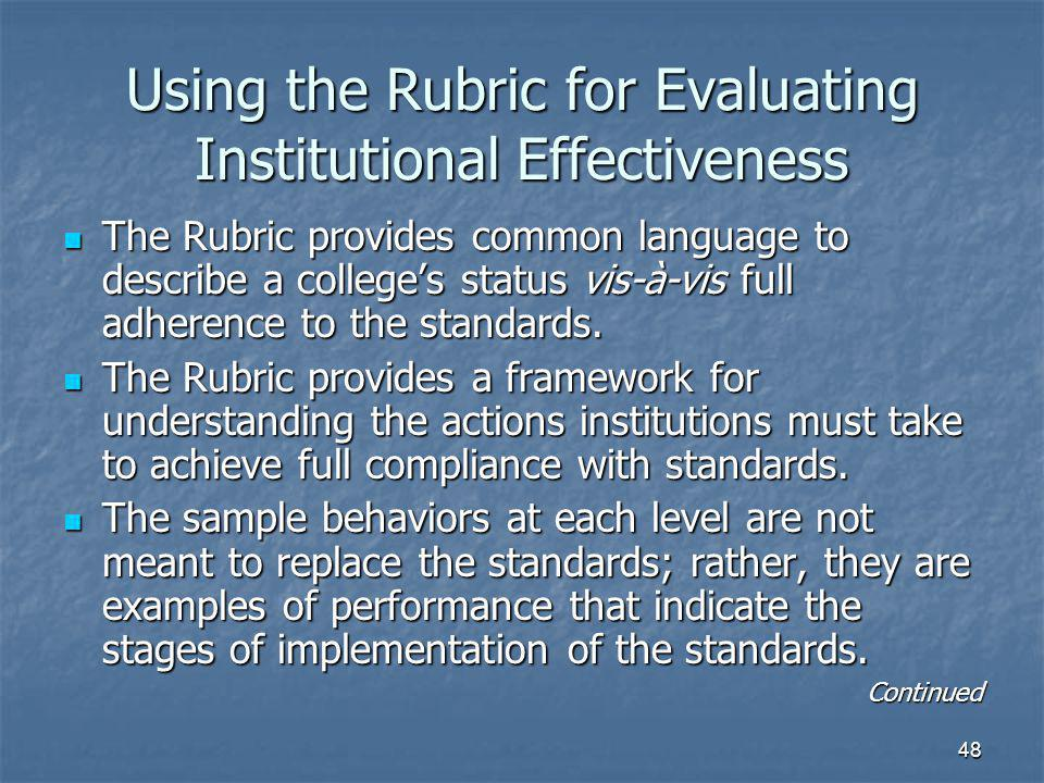 48 Using the Rubric for Evaluating Institutional Effectiveness The Rubric provides common language to describe a college's status vis-à-vis full adherence to the standards.