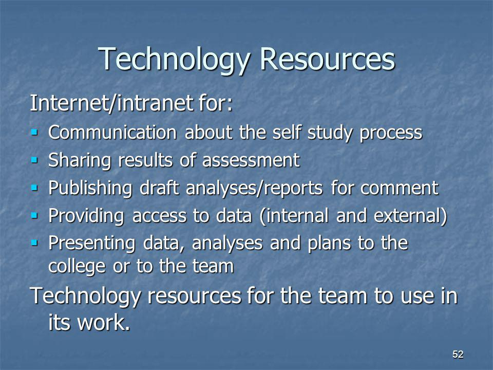 52 Technology Resources Internet/intranet for:  Communication about the self study process  Sharing results of assessment  Publishing draft analyses/reports for comment  Providing access to data (internal and external)  Presenting data, analyses and plans to the college or to the team Technology resources for the team to use in its work.